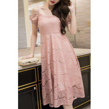 Chic Solid Color Cami Dress and Lace Hollow Out Dress Twinset For Women