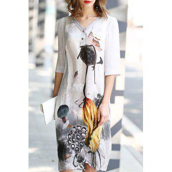Vintage 3/4 Sleeve V Neck Lotus Print Women's Shift Dress