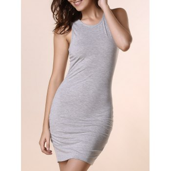 Brief Women's Scoop Neck Gray Sleeveless Dress