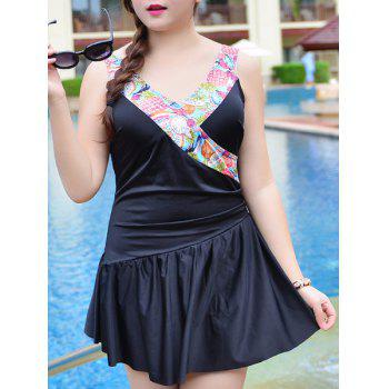 Sweet V-Neck Flounce Patchwork One-Piece Women's Swimsuit