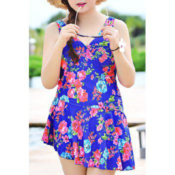 Cute Sleeveless V-NeckFloral Print Women's Swimsuit