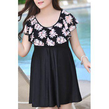 Stylish Dolman Sleeves Scoop Neck Splice Chiffon Women's Swimsuit