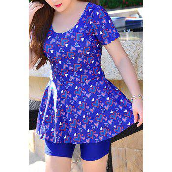 Comfortable Short Sleeves U-Neck Heart Print Women's Swimsuit