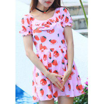 Strawberry Print One-Piece Dress Swimwear For Women