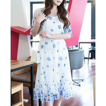 Simple Style Scoop Neck Half Sleeve High Waist Dress For Women