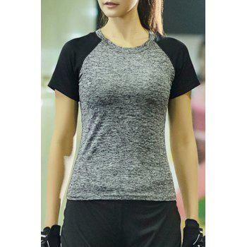 Casual Round Collar Short Sleeves Color Block Women's Sport T-Shirt