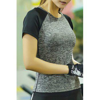Casual Round Collar Short Sleeves Color Block Women's Sport T-Shirt - L L
