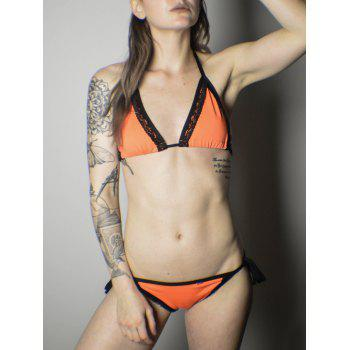 Alluring Halter Color Block Lace Embellished Women's Bikini Set - ORANGE ORANGE