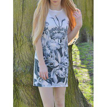Casual Floral Printed Round Neck Sleeveless Dress For Women - WHITE M
