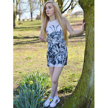 Casual Floral Printed Round Neck Sleeveless Dress For Women - M M