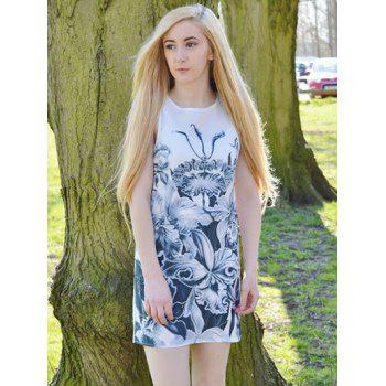 Casual Floral Printed Round Neck Sleeveless Dress For Women - XL XL