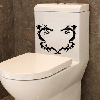 Stylish Black Dragons Pattern Toilet Sticker For Bathroom Decoration