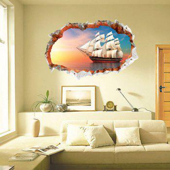 Chic 3D Sailing Ship Pattern Wall Sticker For Livingroom Bedroom Decoration