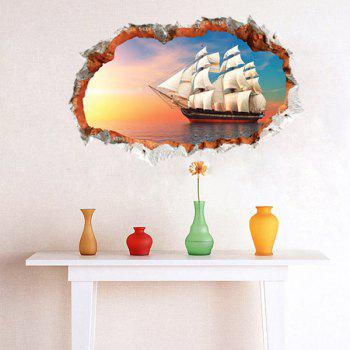 Chic 3D Sailing Ship Pattern Wall Sticker For Livingroom Bedroom Decoration - COLORMIX