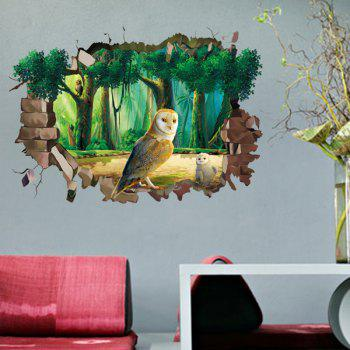 Chic 3D Night Owl Forest Pattern Wall Sticker For Livingroom Bedroom Decoration - COLORMIX