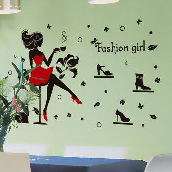 Hot Sale Fashion Girl and High Heels Pattern Removeable Wall Stickers - RED/BLACK