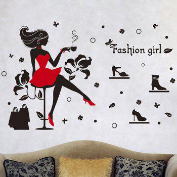 Hot Sale Fashion Girl and High Heels Pattern Removeable Wall Stickers