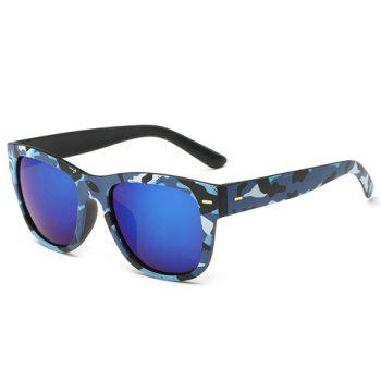 Stylish Short Stripe Shape Alloy Inlay Camouflage Pattern Men's Sunglasses - BLUE BLUE