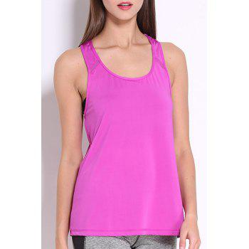Simple Design Round Collar Women's Sport Tank Top - PURPLE PURPLE
