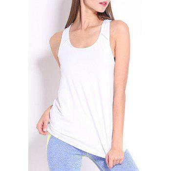 Simple Design Round Collar Women's Sport Tank Top - WHITE WHITE