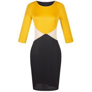 Trendy Round Neck Half Sleeves Color Block Women's Dress