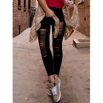 Solid Color Hipster Slimming Fashionable Style Women's Leggings - BLACK ONE SIZE