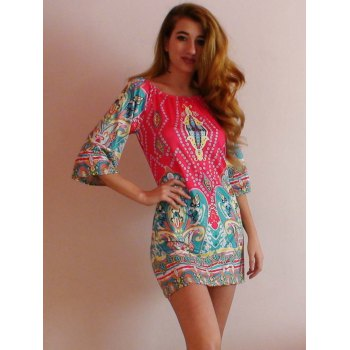 African Style Off The Shoulder Dress - COLORMIX M