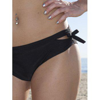 Sexy Women's Halter Solid Color Hollow Out Bikini Set - BLACK M