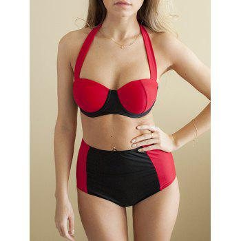 Halter High-Waisted Color Block Women's Bikini Set - RED WITH BLACK RED/BLACK