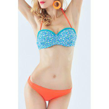Fresh Style Halter Neck Tiny Floral Print Braided Underwire Women's Bikini Set