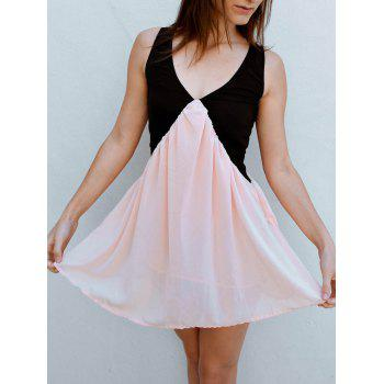 Vintage V-Neck Color Block Sleeveless Dress For Women