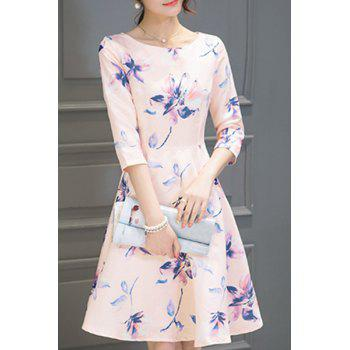 Graceful 3/4 Sleeve Round Neck Floral Print Women's Dress