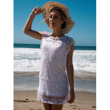 Simple Scoop Collar Sleeveless Solid Color Spliced See-Through Women's Dress - WHITE XL
