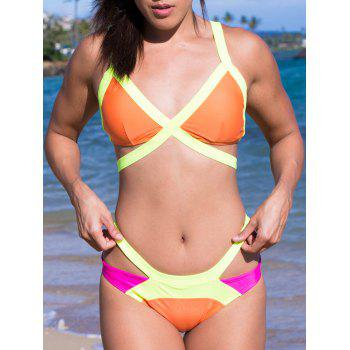 Sexy Wide Strap V-Neck Color Block Backless Hollow Out Design Swimwear - ORANGE ORANGE