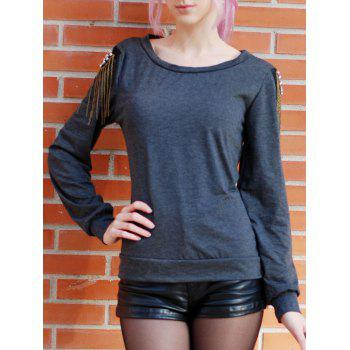 Trendy Long Sleeve Jewel Neck Solid Color T-Shirt For Women - GRAY S
