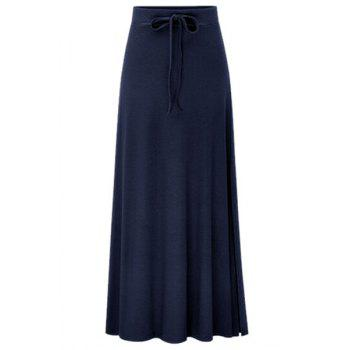 Elegant Side Vent Solid Color Women's Long Skirt