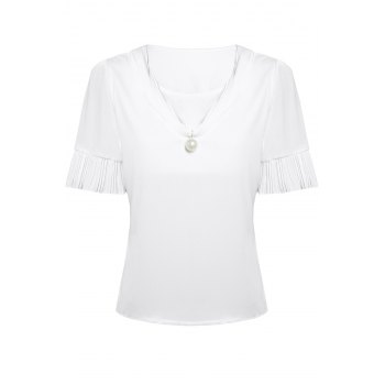 Stylish V Neck Short Sleeve Pearl Embellished Women's T-Shirt