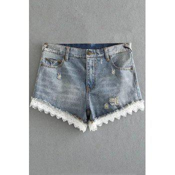 Stylish High Waist Fitted Lace Hook Denim Women's Shorts