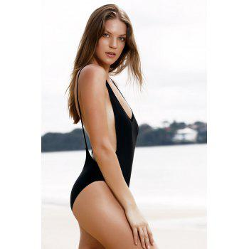 Monokini High Cut Backless One Piece Swimwear - BLACK S