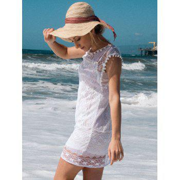 Simple Scoop Collar Sleeveless Solid Color Spliced See-Through Women's Dress - WHITE L