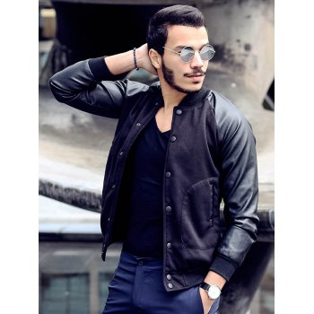 Fashion Large Pocket Color Splicing Stand Collar Long Sleeve Slimming Men's Polyester Jacket - BLACK M
