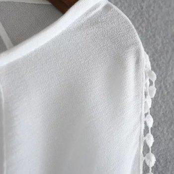 Sweet Style Scoop Collar Long Sleeve Laciness Hollow Out Women's White Blouse - WHITE M