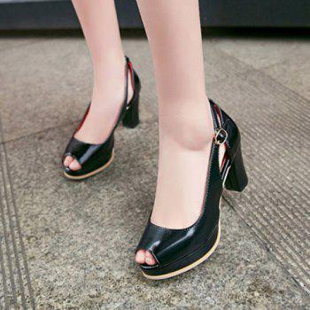 Fashionable Buckle and Hollow Out Design Women's Peep Toe Shoes - BLACK 34