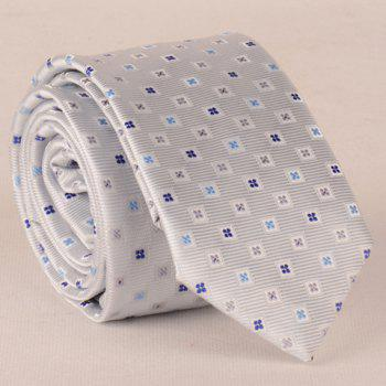 Stylish Small Lattice and Tiny Floral Pattern 6CM Width Men's Tie - SILVER WHITE