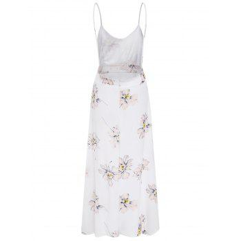 Floral Print Open Back Spaghetti Strap Dress - WHITE XL