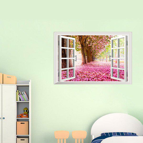 Chic 3D Window Sakura Trees Landscape Pattern Wall Sticker For Livingroom Bedroom Decoration - COLORMIX
