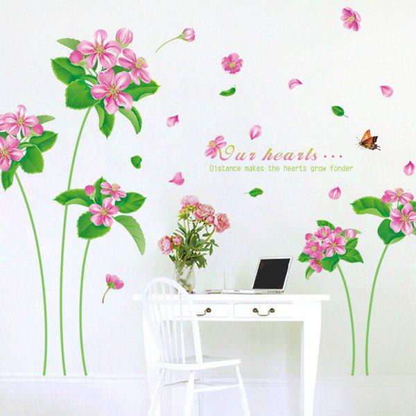 Chic Flower and Leaves Pattern Wall Sticker For Livingroom Bedroom Decoration - COLORMIX