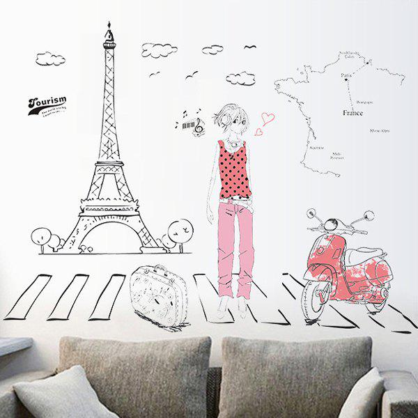 Chic Traveler Pattern Wall Sticker For Livingroom Bedroom Decoration - COLORMIX