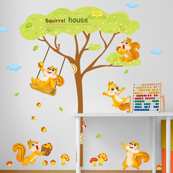 Chic Cartoon Squirrel House Pattern Wall Sticker For Kindergarten Children's Bedroom - COLORMIX