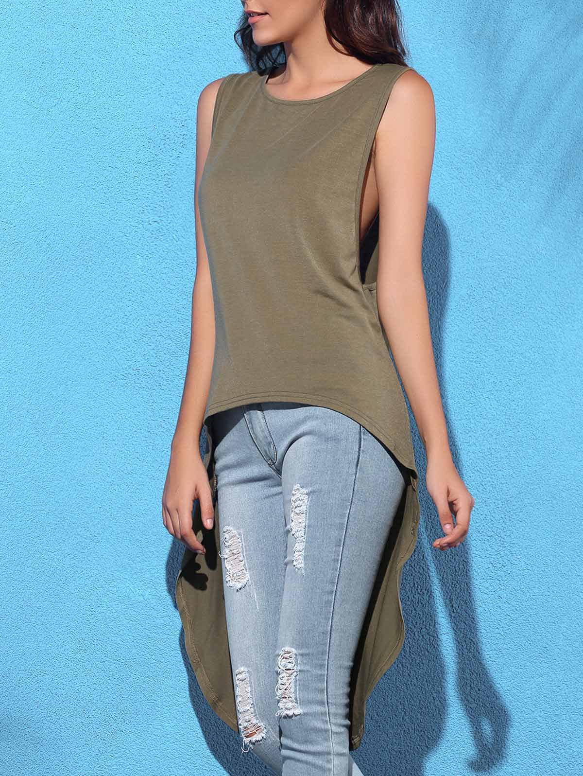 Trendy Sleeeveless Round Collar Solid Color Asymmetrical Women's Tank Top - OLIVE GREEN M